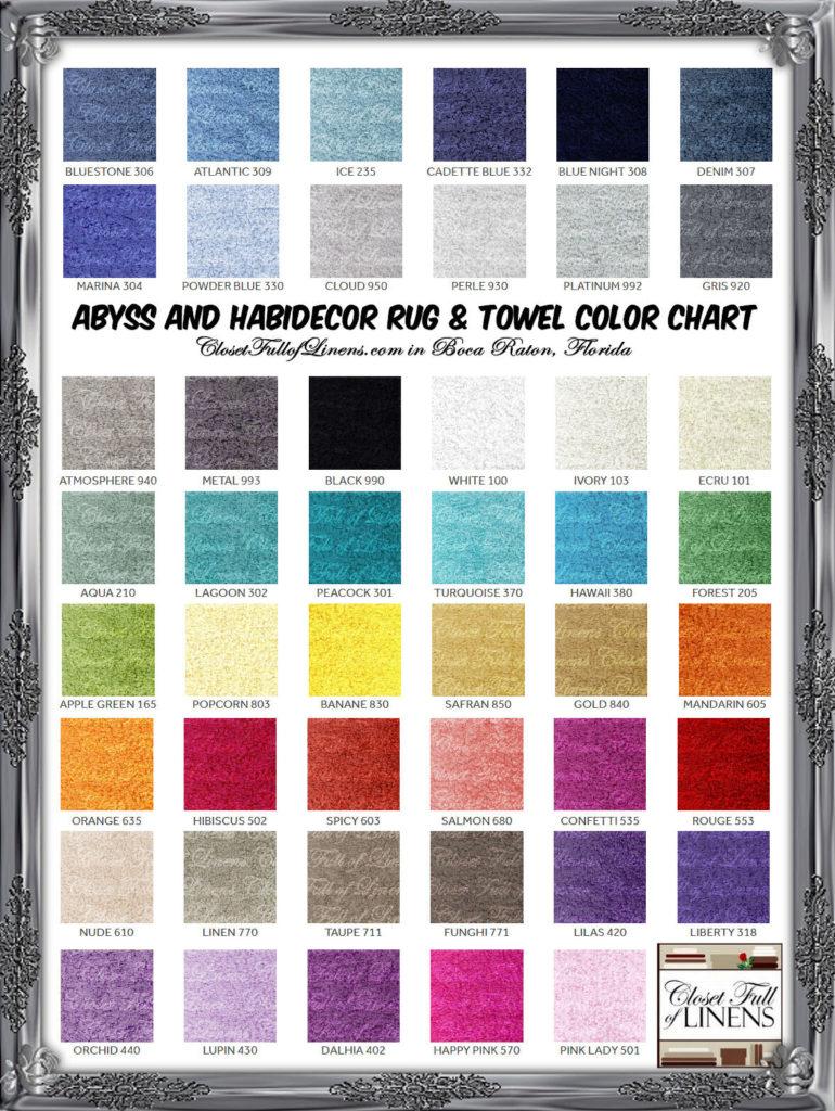 Abyss Habitdecor Towel Rug Color Chart