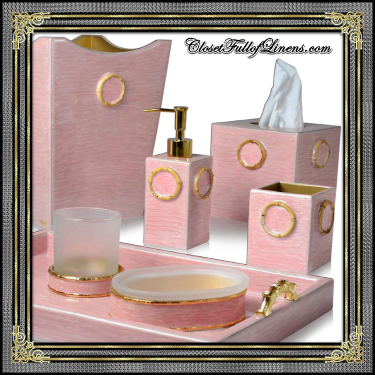 Pink Bamboo Bath Accessories